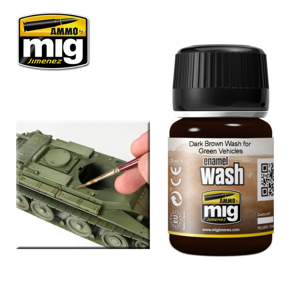 DARK BROWN WASH FOR GREEN VEHICLES Ammo Mig 1005