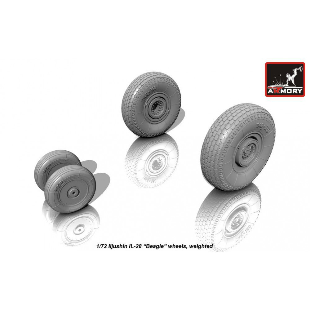 Iljushin IL-28 Beagle wheels, weighted 1/72 Armory Models AR AW72040