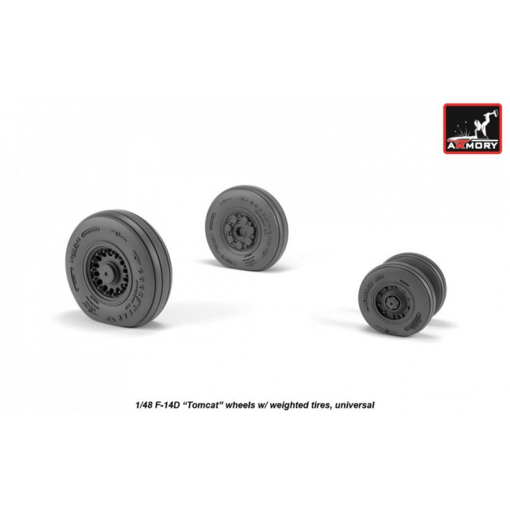 F-14 Tomcat late type wheels w/ weighted tires 1/48 Armory Models AR AW48327