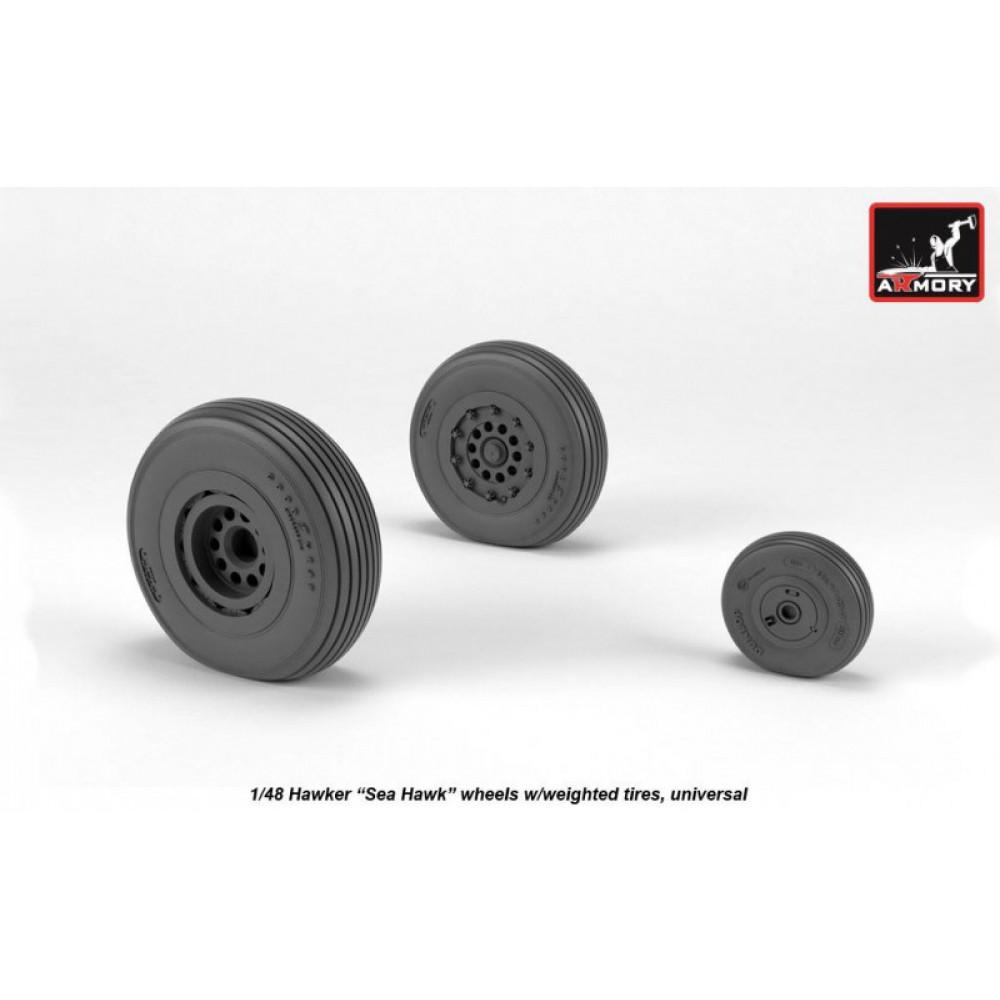 """Hawker """"Sea Hawk"""" wheels w/ weighted tires 1/48 Armory Models AR AW48415"""