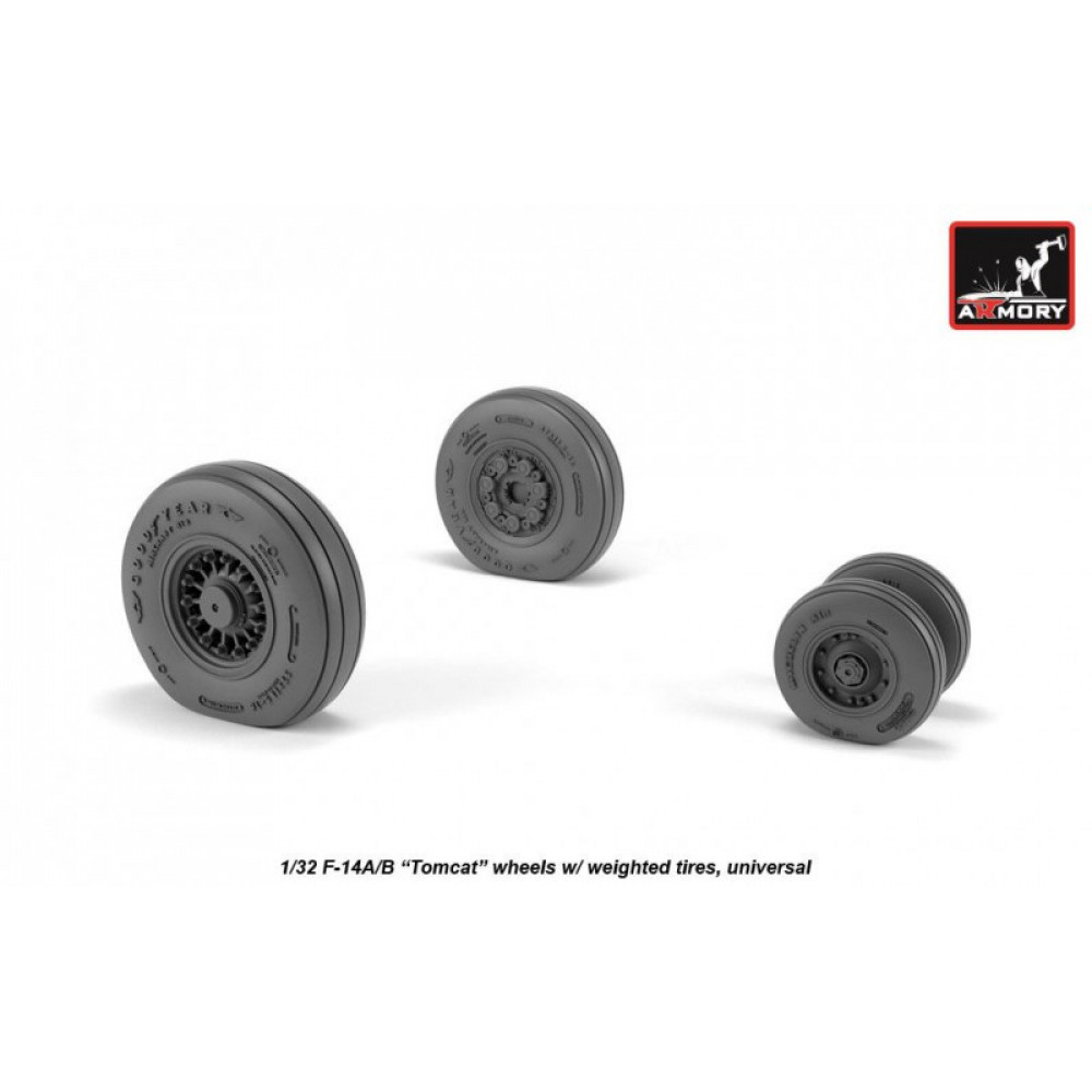 F-14 Tomcat early type wheels w/ weighted tires 1/32 Armory Models AR AW32309