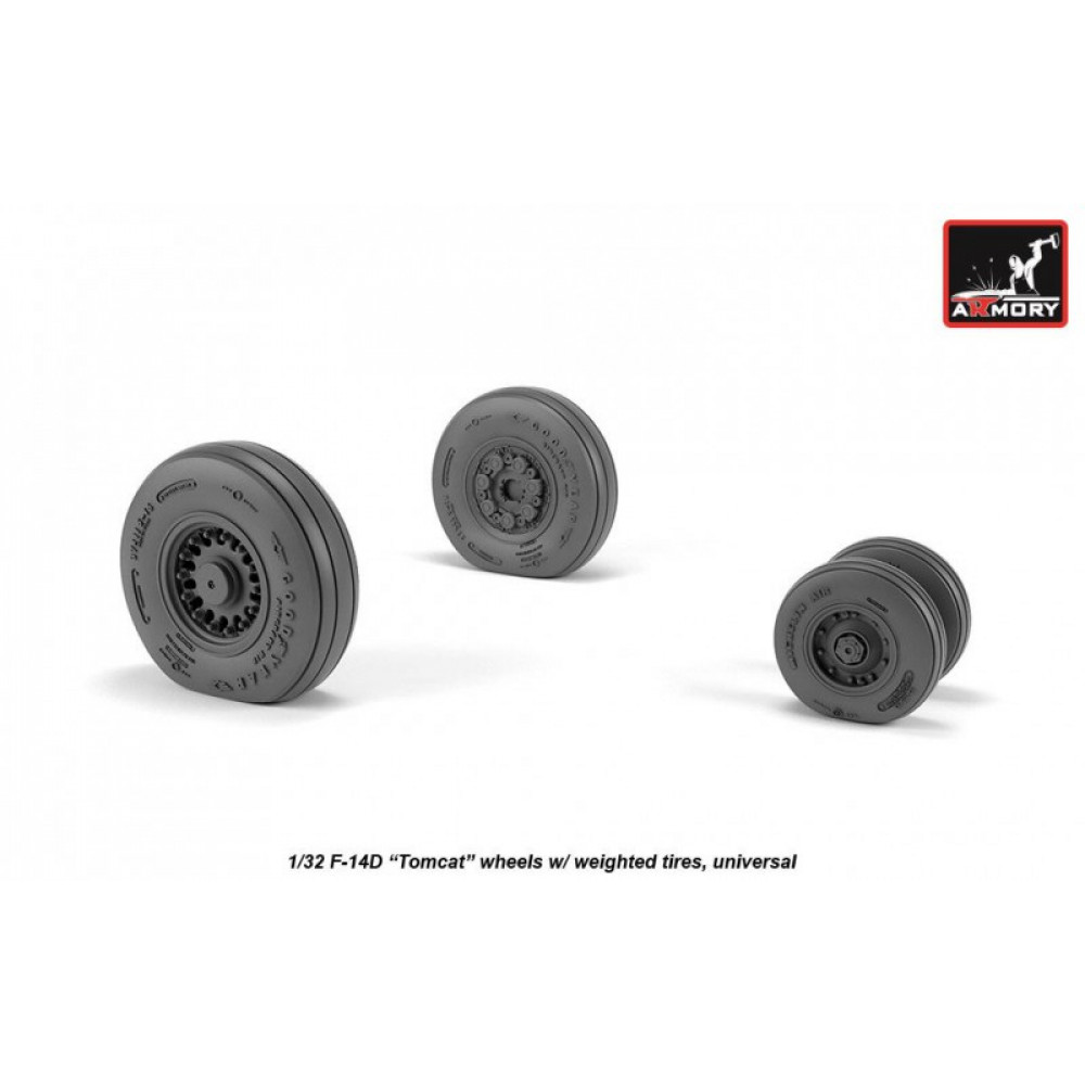 F-14 Tomcat late type wheels w/ weighted tires 1/32 Armory Models AR AW32310