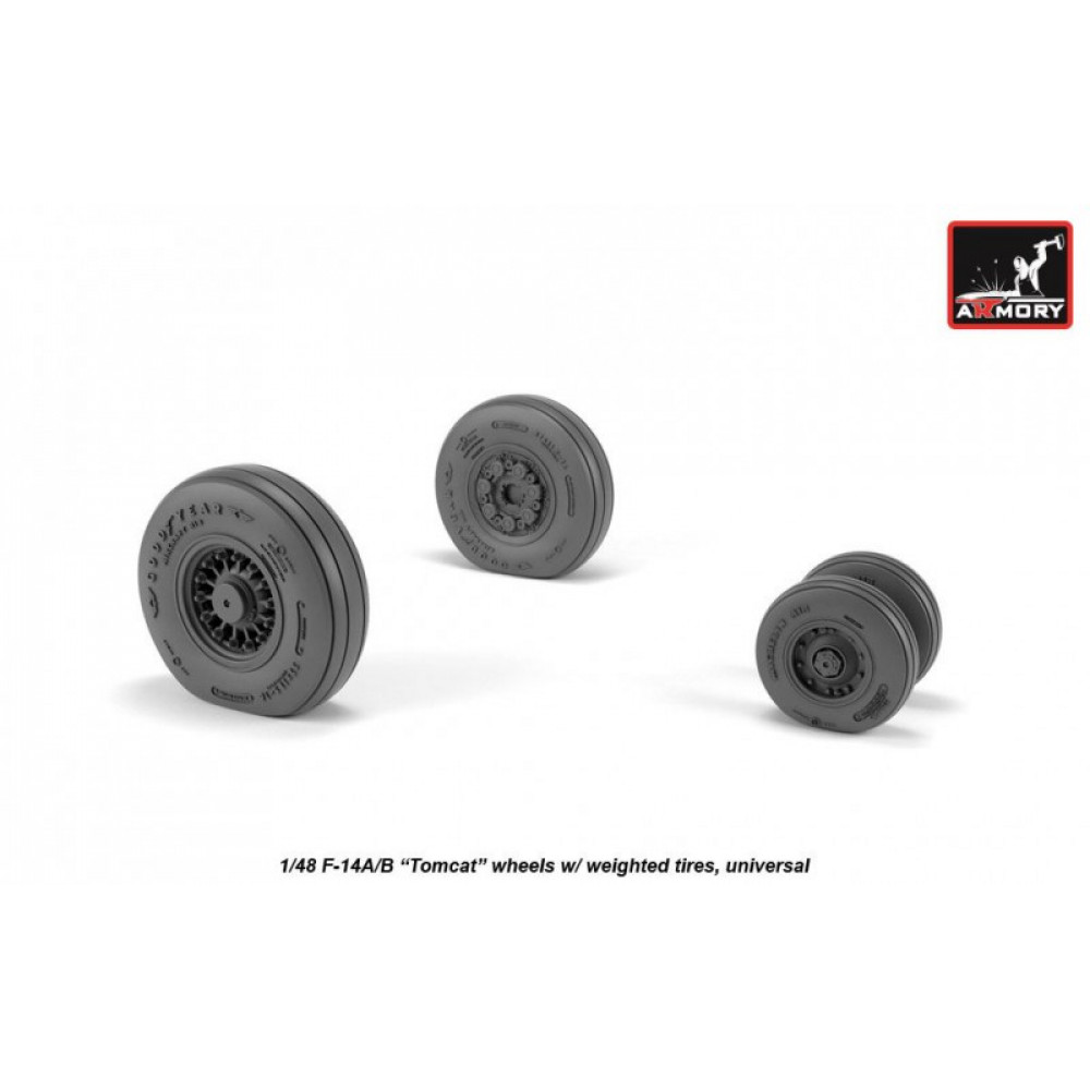 F-14 Tomcat early type wheels w/ weighted tires 1/48 Armory Models AR AW48326