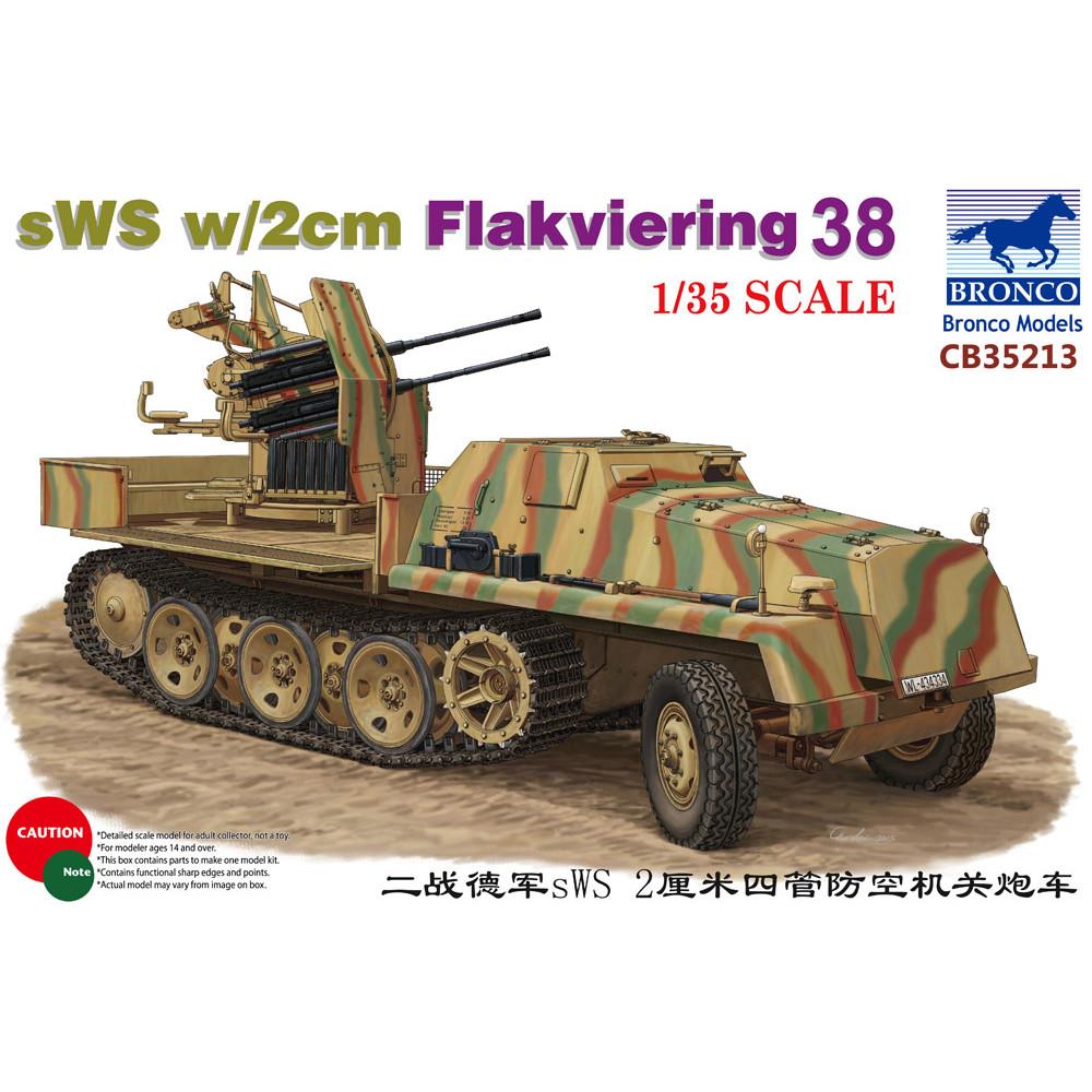 Зенитная установка sWS w/2cm Flakviering 38  1/35 Bronco Models 35213