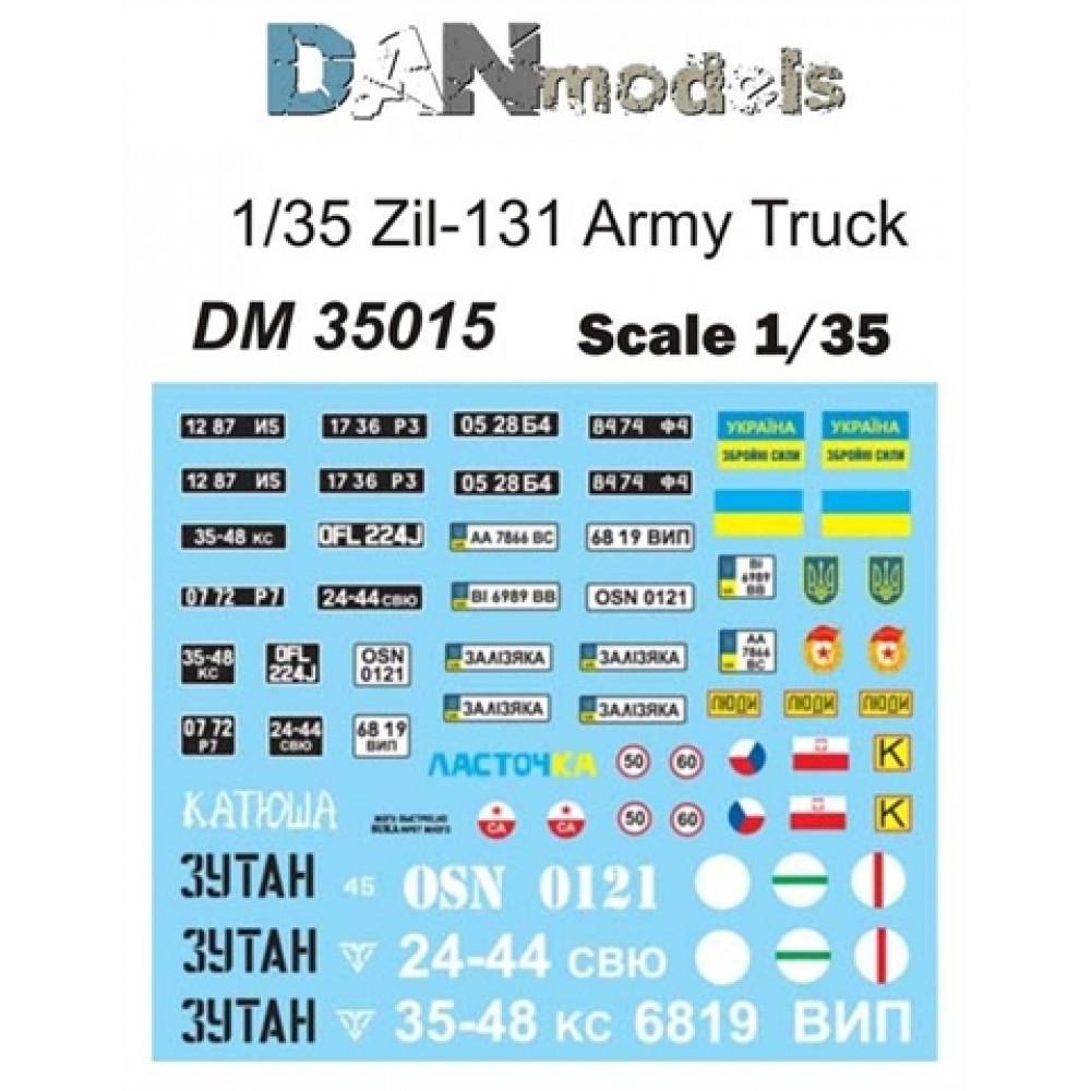 Декаль для армейского грузовика ЗИЛ-131, 13 вариантов  1/35 DANmodels 35015