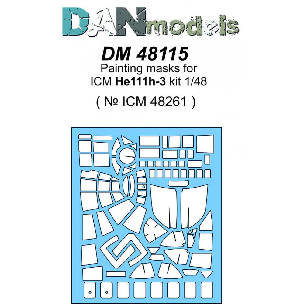 Маска для модели самолета He 111H-3 ( ICM 48261 )  1/48 DANmodels  48115