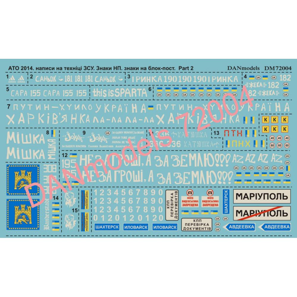 АТО 2014: надписи на технике Украины. Часть 2 знаки населених пунктів у зоні АТО. знаки на блок-пост  1/72 DANmodels 72004