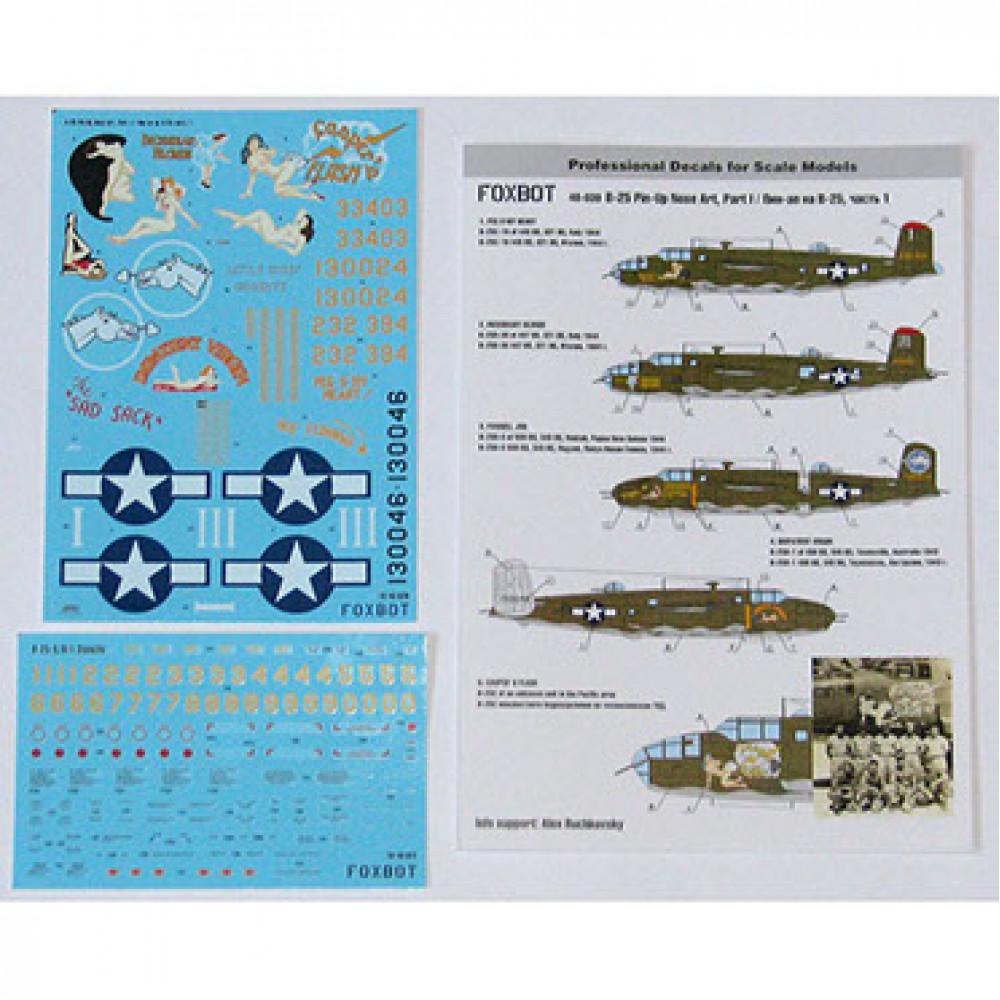 "Декаль North American B-25C/D Mitchell ""Pin-Up Nose Art"" c техническими надписями #1 1/48 Foxbot 48-039"