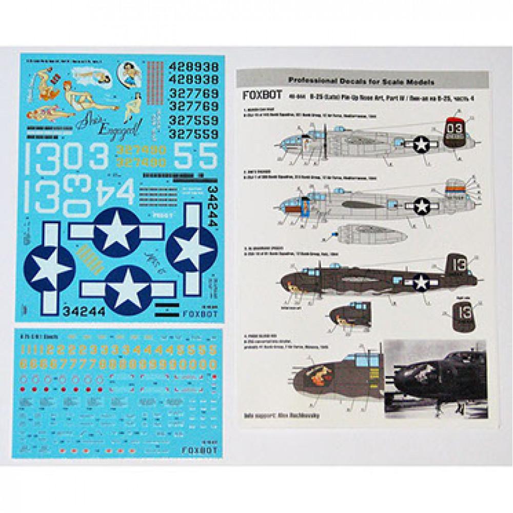 Декаль North American B-25G/H/J Mitchell (Late) Pin-Up Nose Art c техническими надписями #4 1/48 Foxbot 48-044