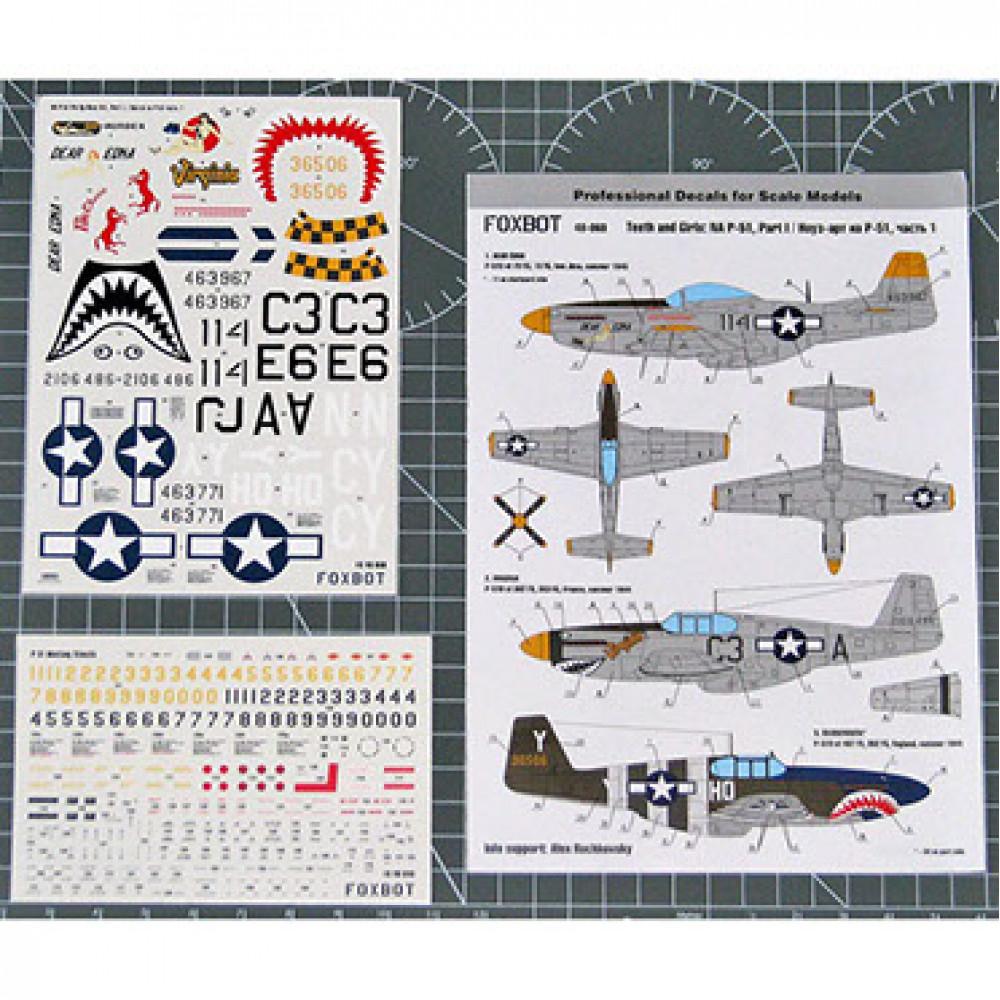 Декаль Nose Art- Teeth and Girl North American P-51 Mustang и технические надписи # 1 1/48 Foxbot 48-060