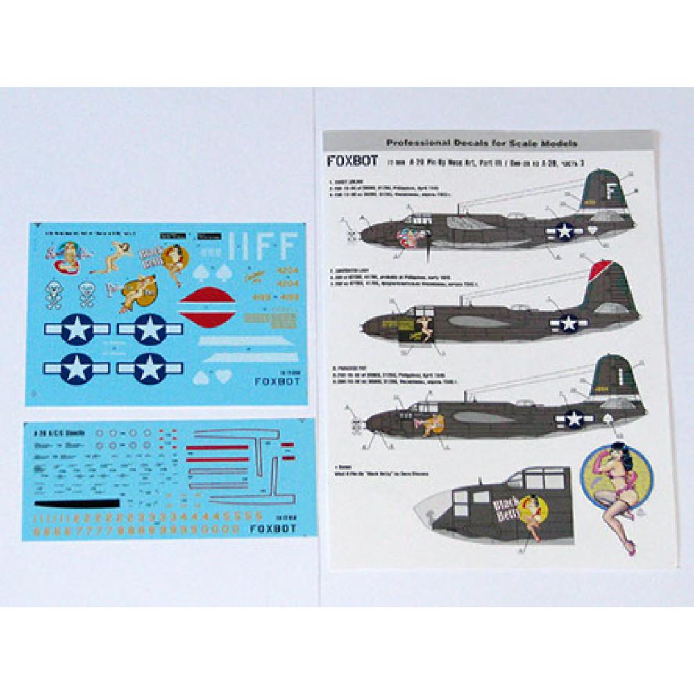 Декаль Pin-Up Nose Art A-20 и технические надписи # 3 1/72 Foxbot 72-008