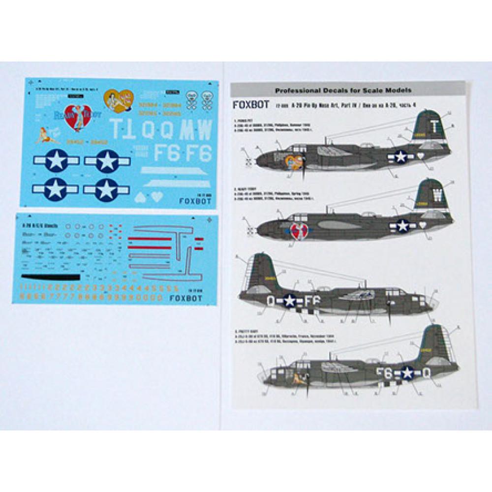 Декаль Pin-Up Nose Art A-20 и технические надписи #4 1/72 Foxbot 72-009