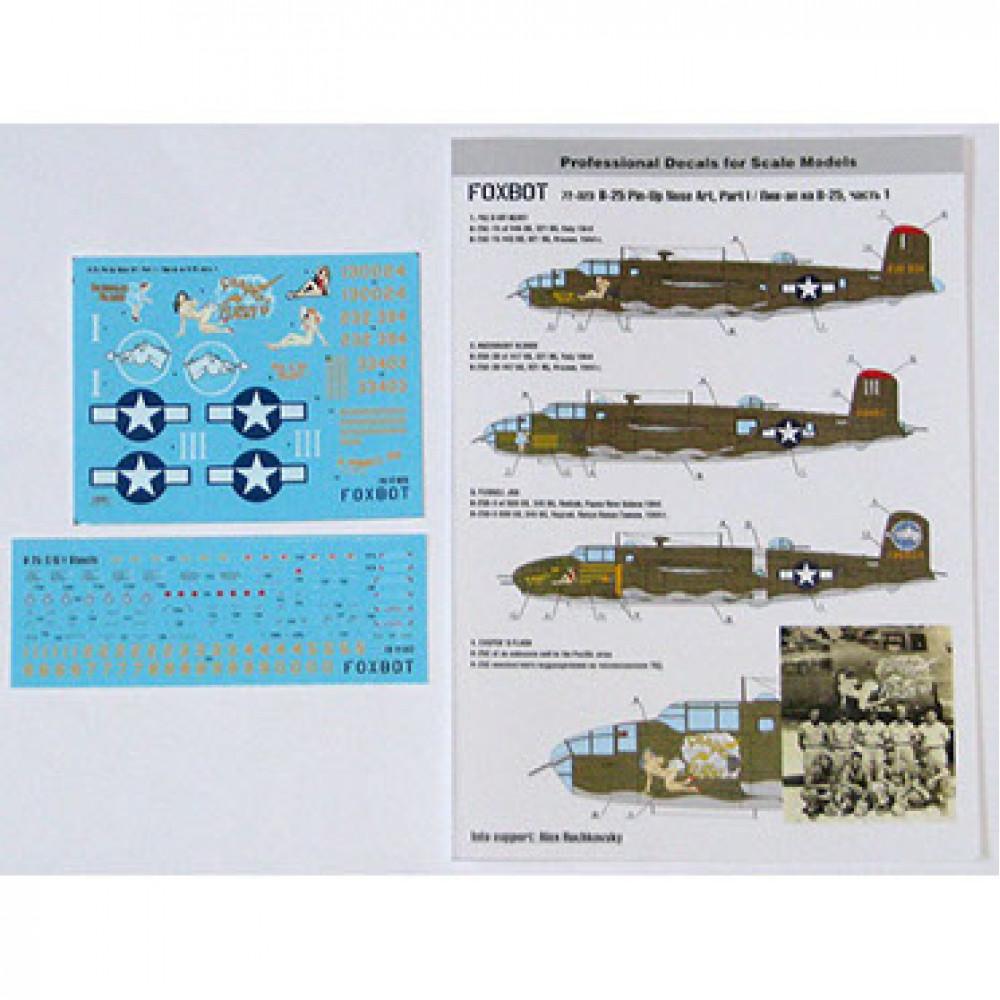 "Декаль North American B-25C/D Mitchell ""Pin-Up Nose Art"" c техническими надписями #1 1/72 Foxbot 72-023"
