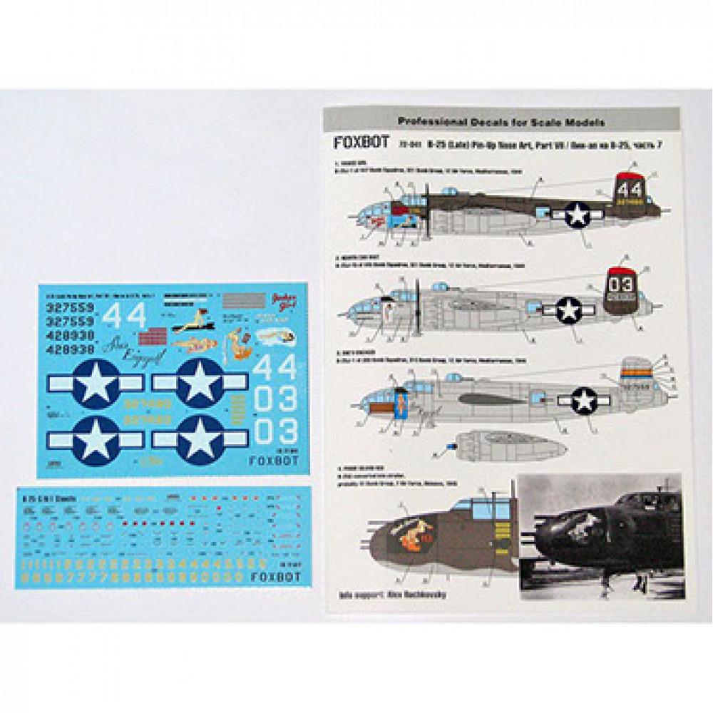 Декаль North American B-25G / J Mitchell Late, Pin-Up Nose Art c техническимb надписями # 7 1/72 Foxbot 72-041