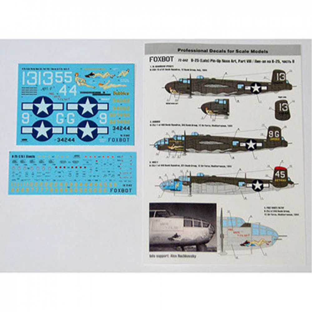 Декаль North American B-25H/J Mitchell Late, Pin-Up Nose Art c техническими надписями #8 1/72 Foxbot 72-042