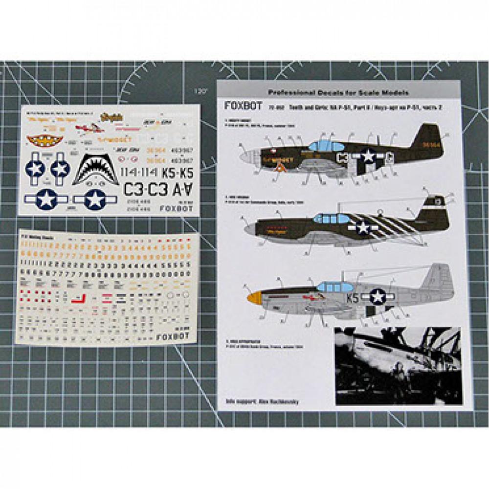 Декаль Nose Art North American P-51 Mustang и технические надписи # 2 1/72 Foxbot 72-052