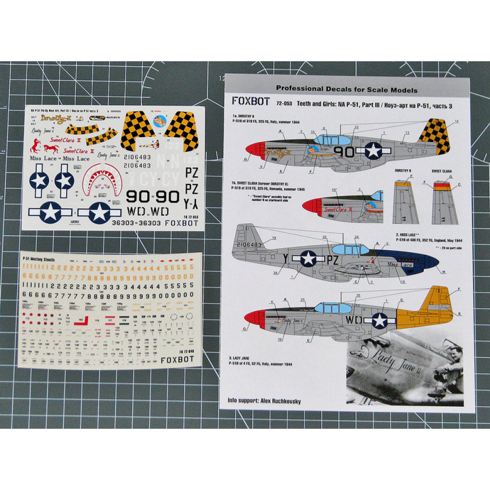 Декаль Nose Art North American P-51 Mustang и технические надписи # 3 1/72 Foxbot 72-053