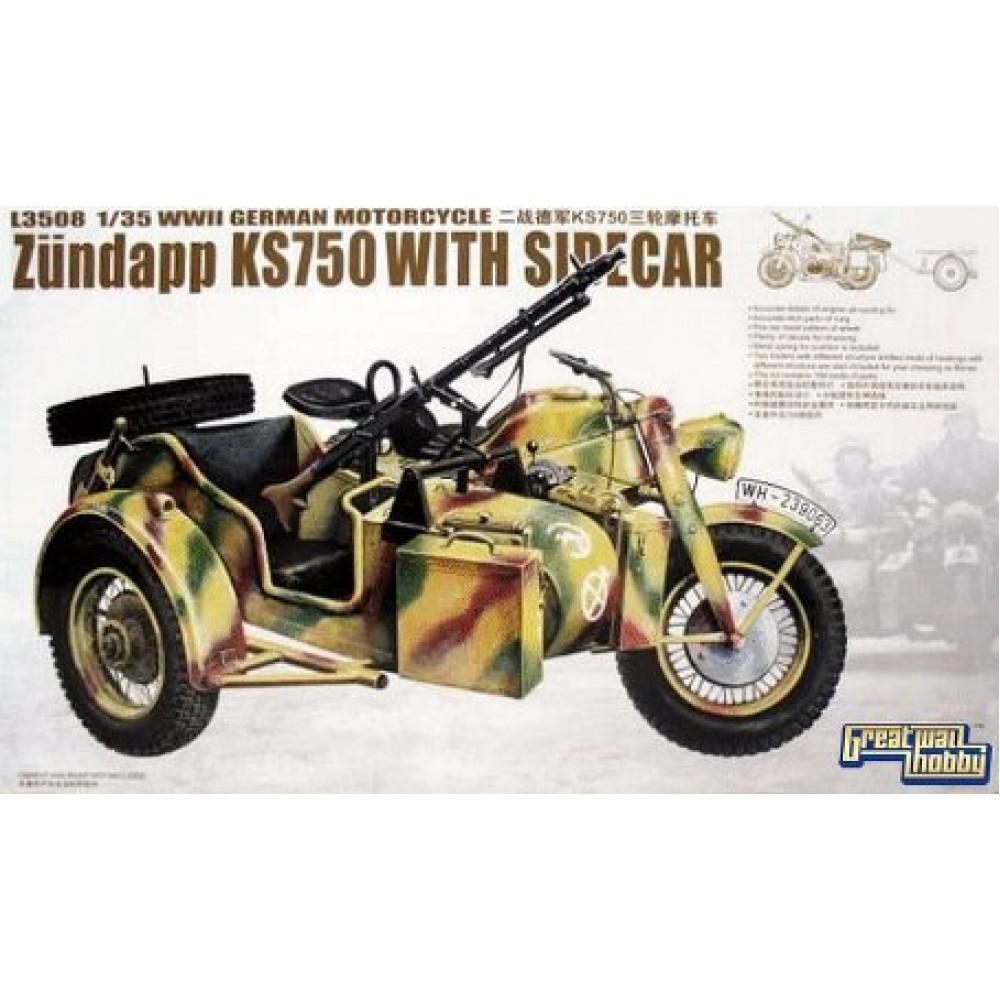 Немецкий мотоцикл Zundapp KS 750 с коляской   1/35 Great Wall Hobby GWH L3508