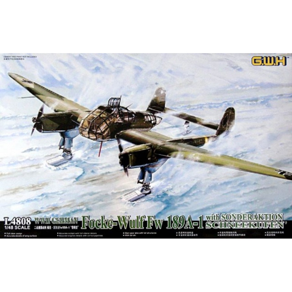 Модель Немецкого Fw 189A-1 на лыжном шасси WWII   1/48 Great Wall Hobby GWH L4808