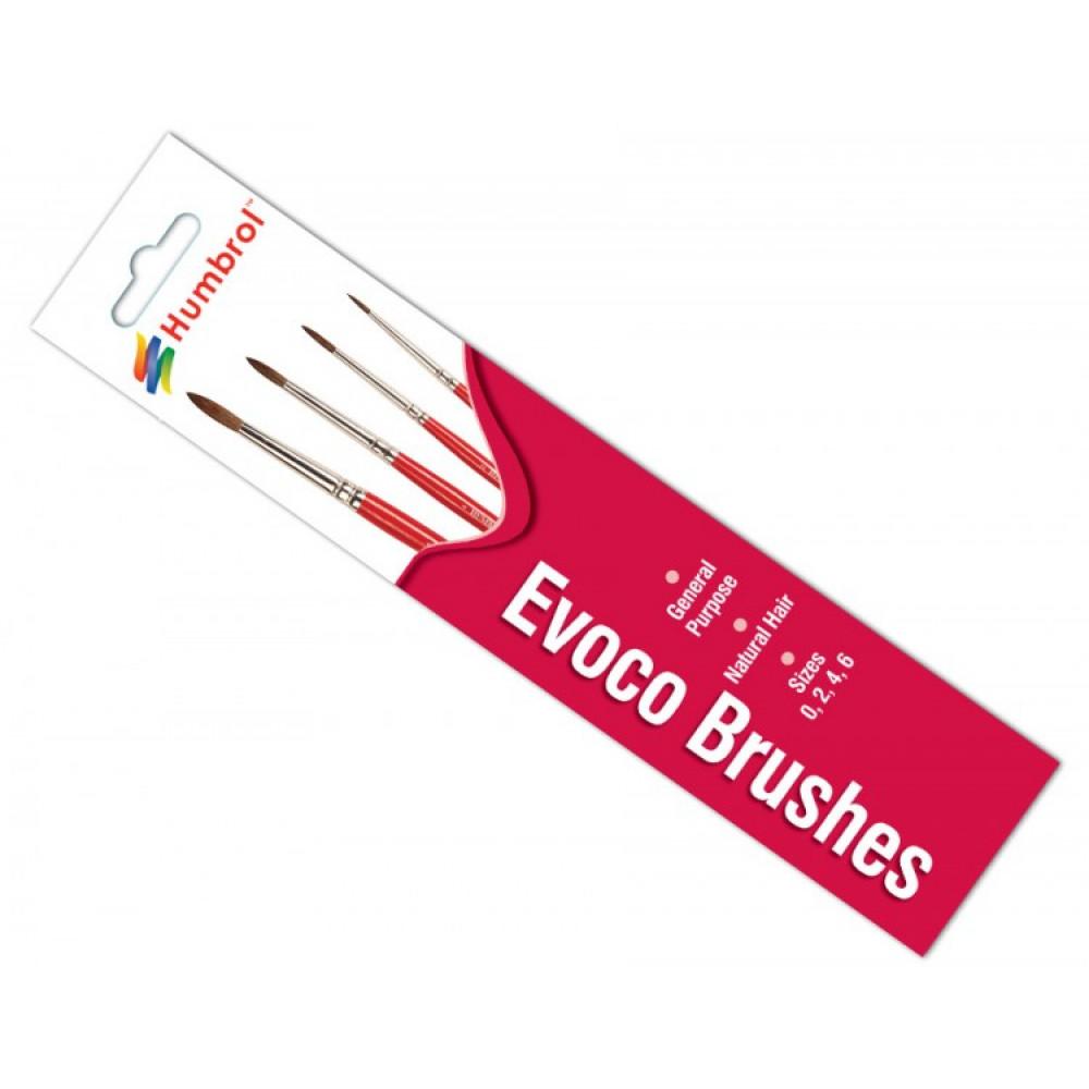Evoco Brush Pack - Size 0/2/4/6  Humbrol  4150