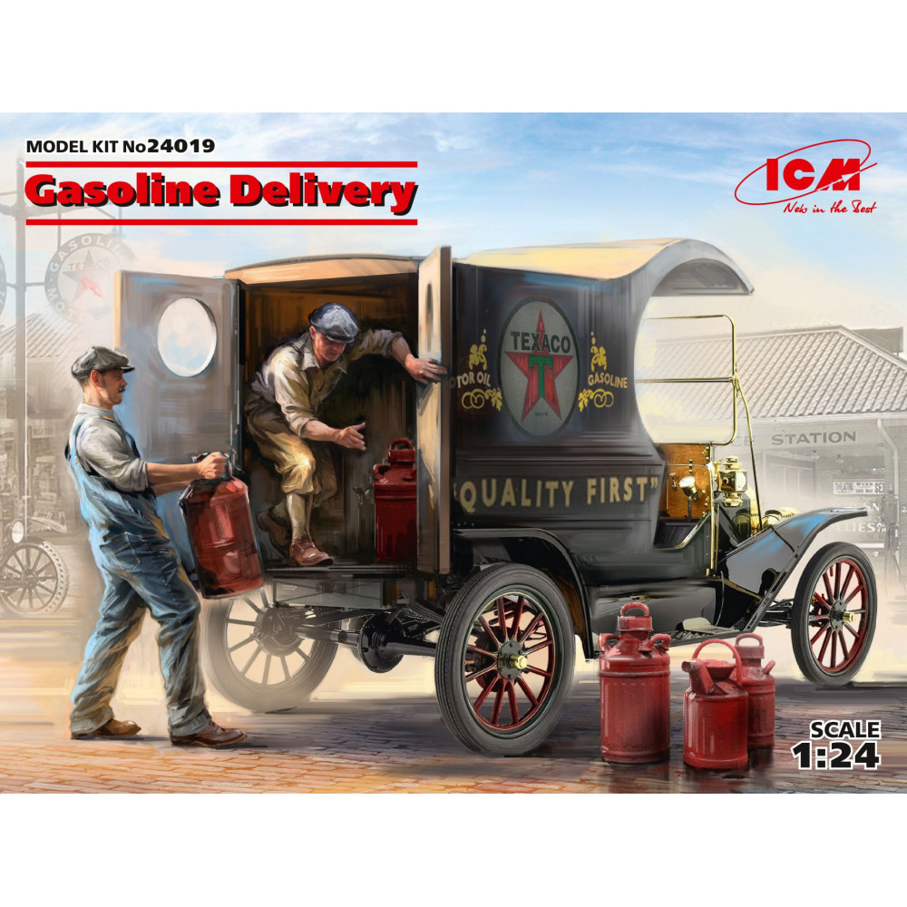 Gasoline Delivery, Model T 1912 Delivery Car with American Gasoline Loaders 1/24  ICM 24019