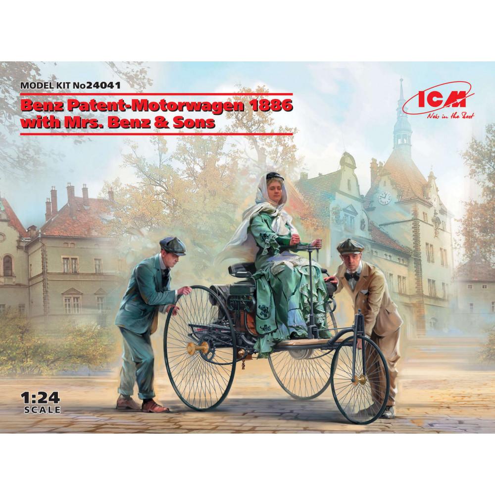Benz Patent-Motorwagen 1886 with Mrs. Benz & Sons 1/24 ICM 24041