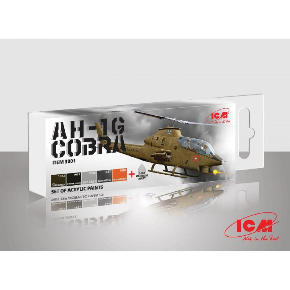 Helicopter paint set COBRA AH-1G, 6 pcs. ICM 3001