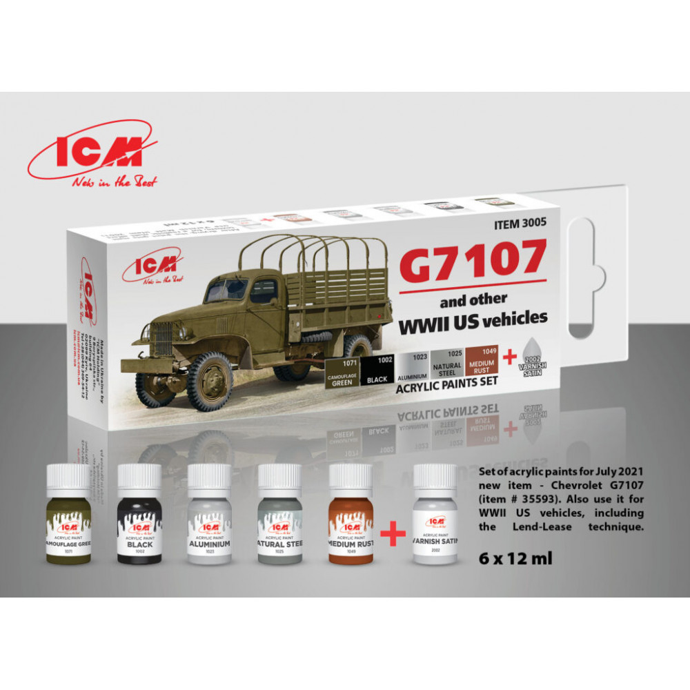 A set of paints for G7107 and American vehicles WWII era, 6 pcs. ICM 3005