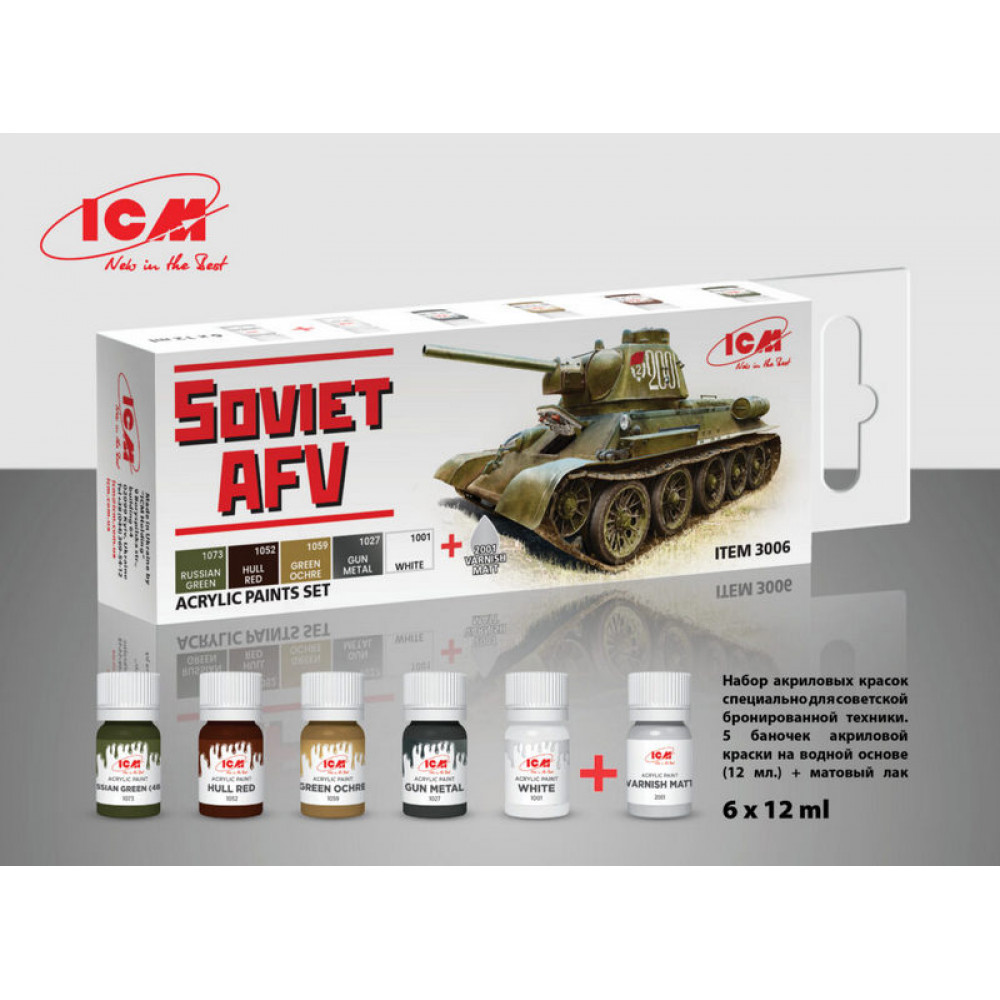A set of paints for Soviet armored vehicles, 6 pcs. ICM 3006
