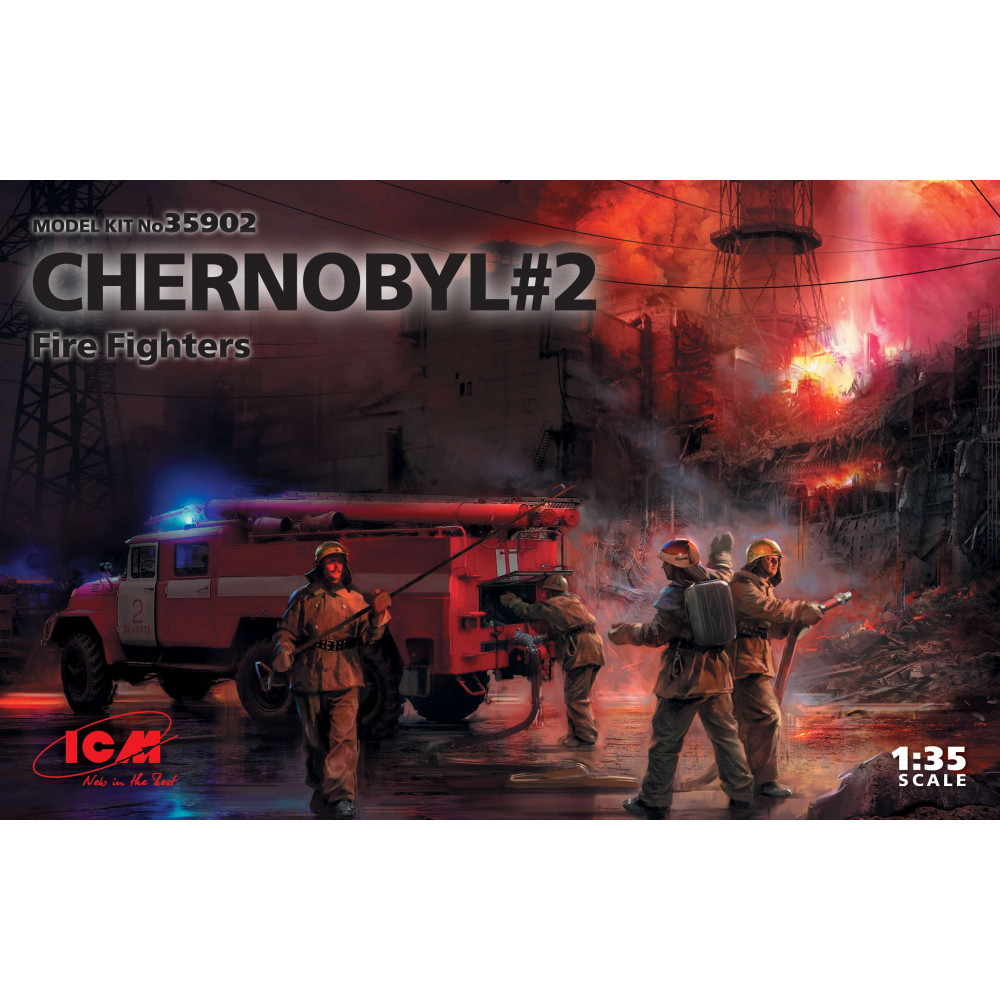 Chernobyl#2. Fire Fighters (AC-40-137A firetruck & 4 figures & diorama base with background) 1/35 ICM 35902