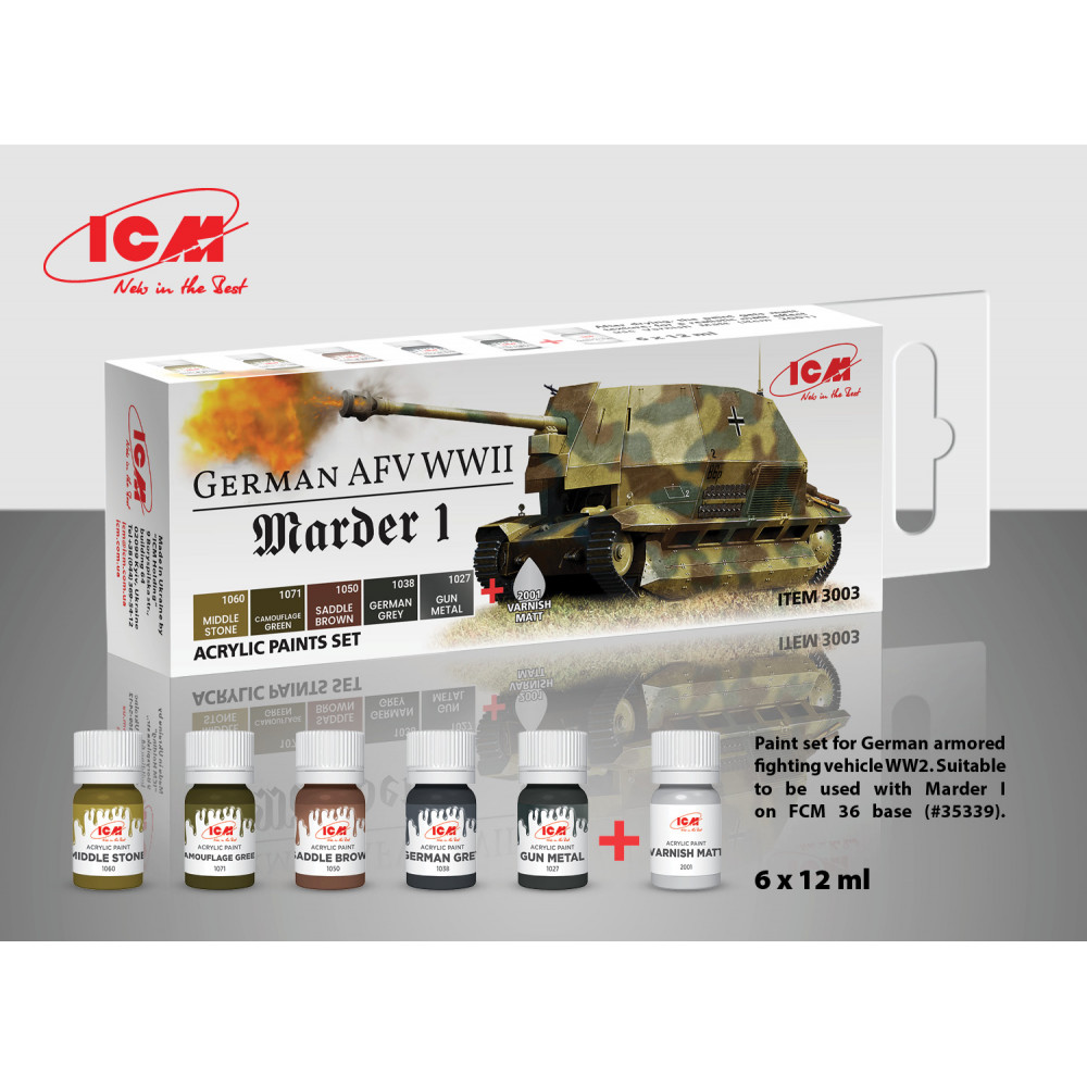 A set of paints for Marder I and German armored vehicles, 6 pcs. ICM 3003