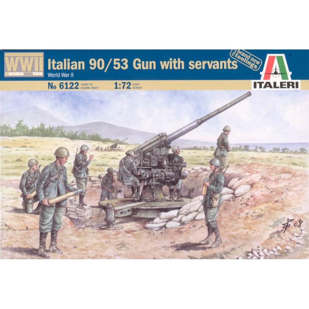 Italian 90/53 Gun with Crew 1/72 Italeri  6122