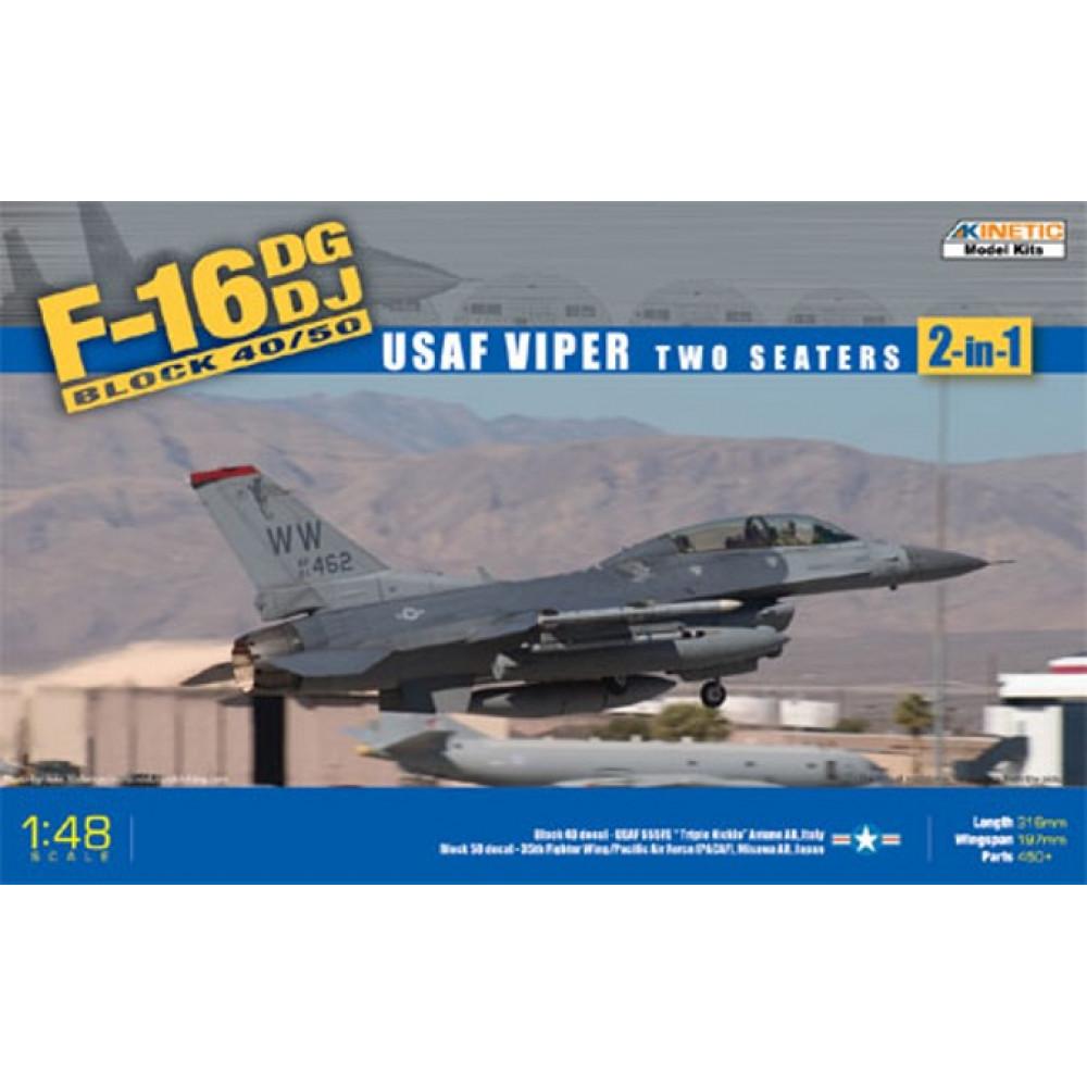 Самолёт General Dynamics F-16D Block 50 - USAF Viper 2 сиденья  1/48 Kinetic 48005