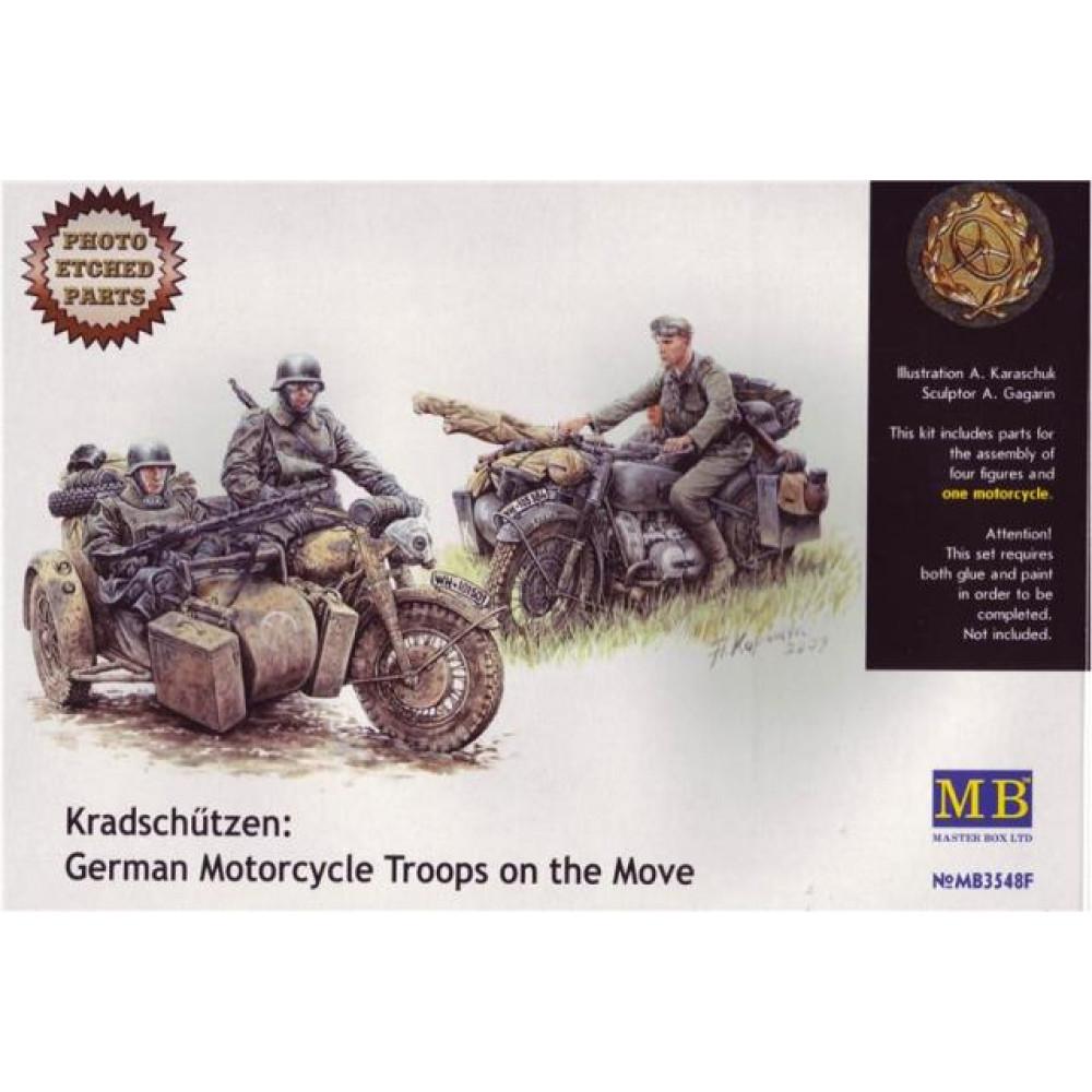 """Kradschutzen: German Motorcycle Troops on the Move""  1/35 MasterBox 3548F"