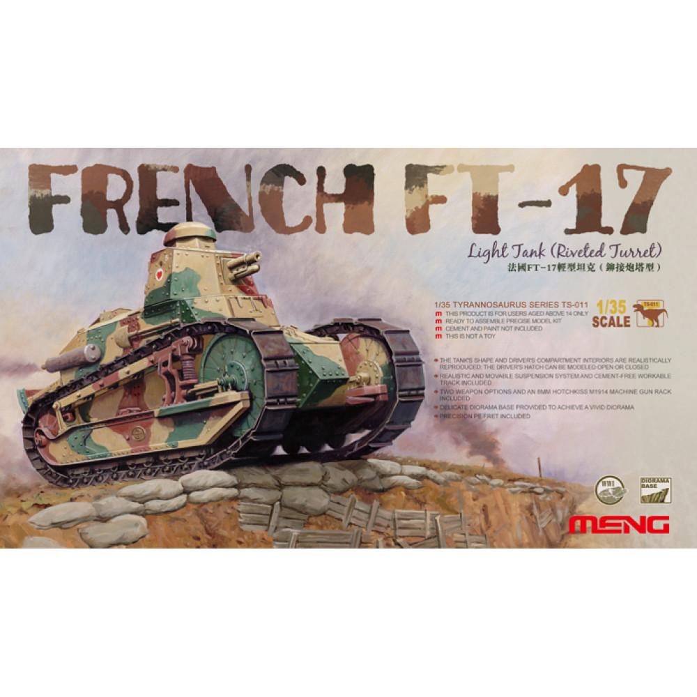 France FT-17 Light Tank (Riveting octagonal turret)   1/35 Meng Model  ts-011
