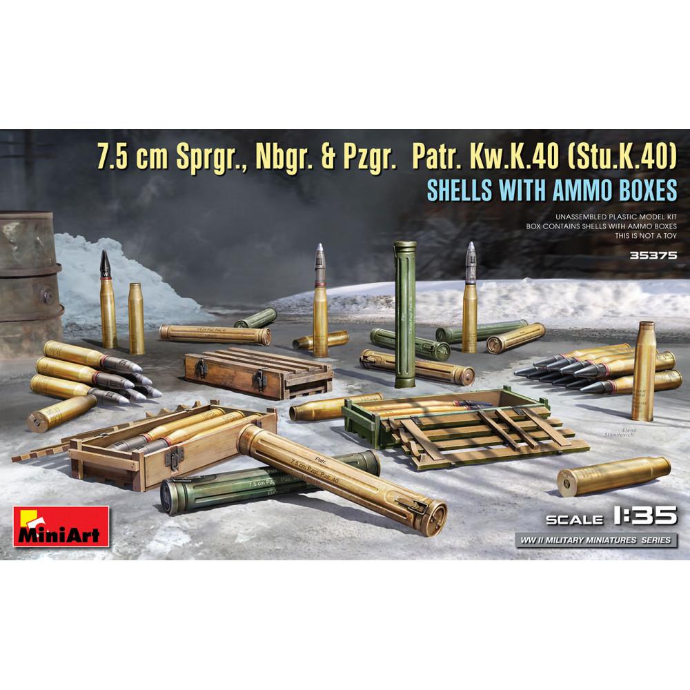 7.5 cm Sprgr., Nbgr. & Pzgr. Patr. Kw.K.40 (Stu.K.40) SHELLS WITH AMMO BOXES 1/35 MiniArt 35375