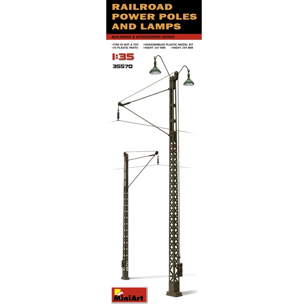 Railroad Power Poles and Lamps 1/35 MiniArt 35570