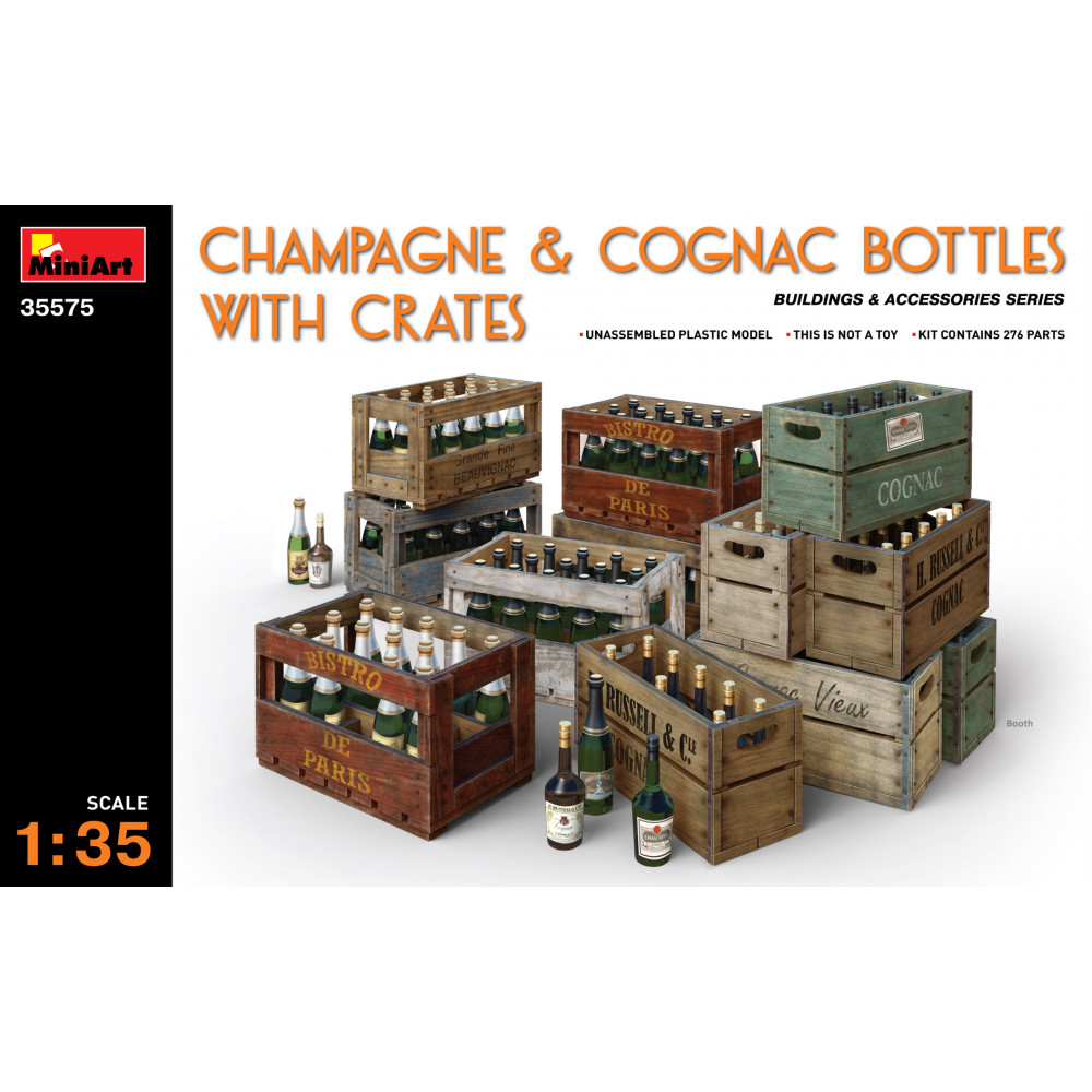 Champagne & Cognac Bottles with Crates 1/35 MiniArt 35575