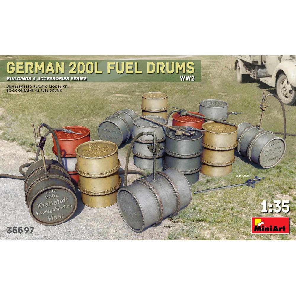 200 Liter Fuel Drum Set   1/35 MiniArt 35597