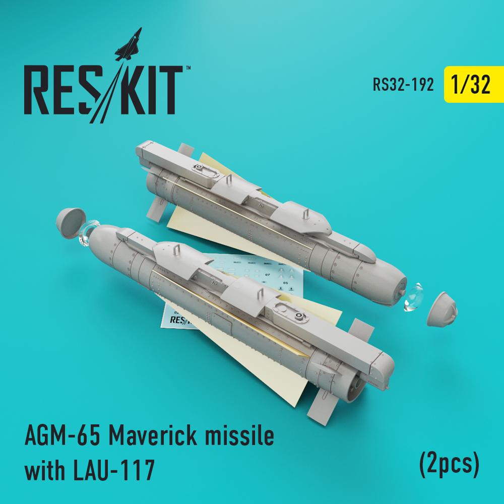 AGM-65 Maverick missile with LAU-117  (2pcs)(AV-8b, A-10, F-16, F-18) 1/32 ResKit RS32-0192