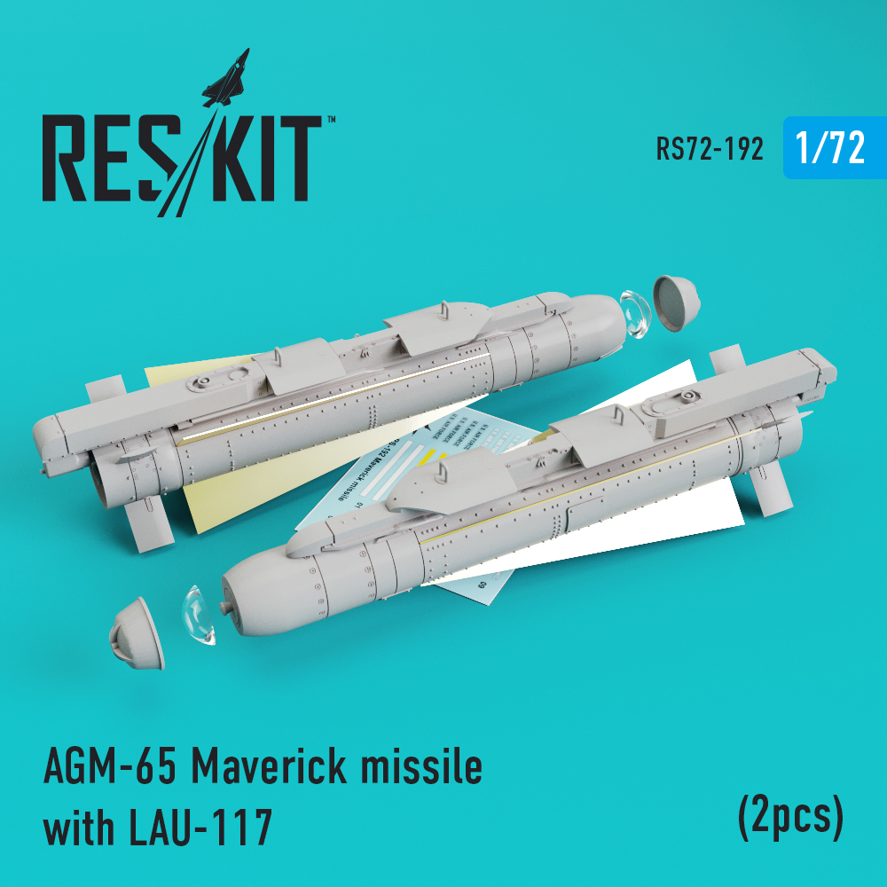 AGM-65 Maverick missile with LAU-117  (2pcs) ( AV-8b, A-10, F-16, F-18) 1/72 ResKit RS72-0192