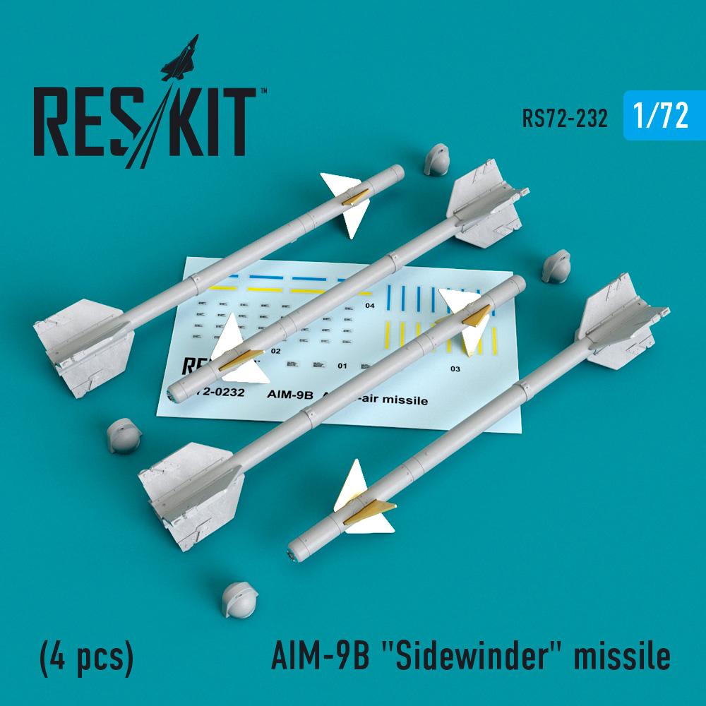 """AIM-9B """"Sidewinder"""" missile (4 PCS) A-4, A-7, F-4D1, F-4, F-8, F-3H,  F-11, F-86,F-100,  F-104, F-105,  Mirage III, Harrier 1/72 ResKit RS72-0232"""