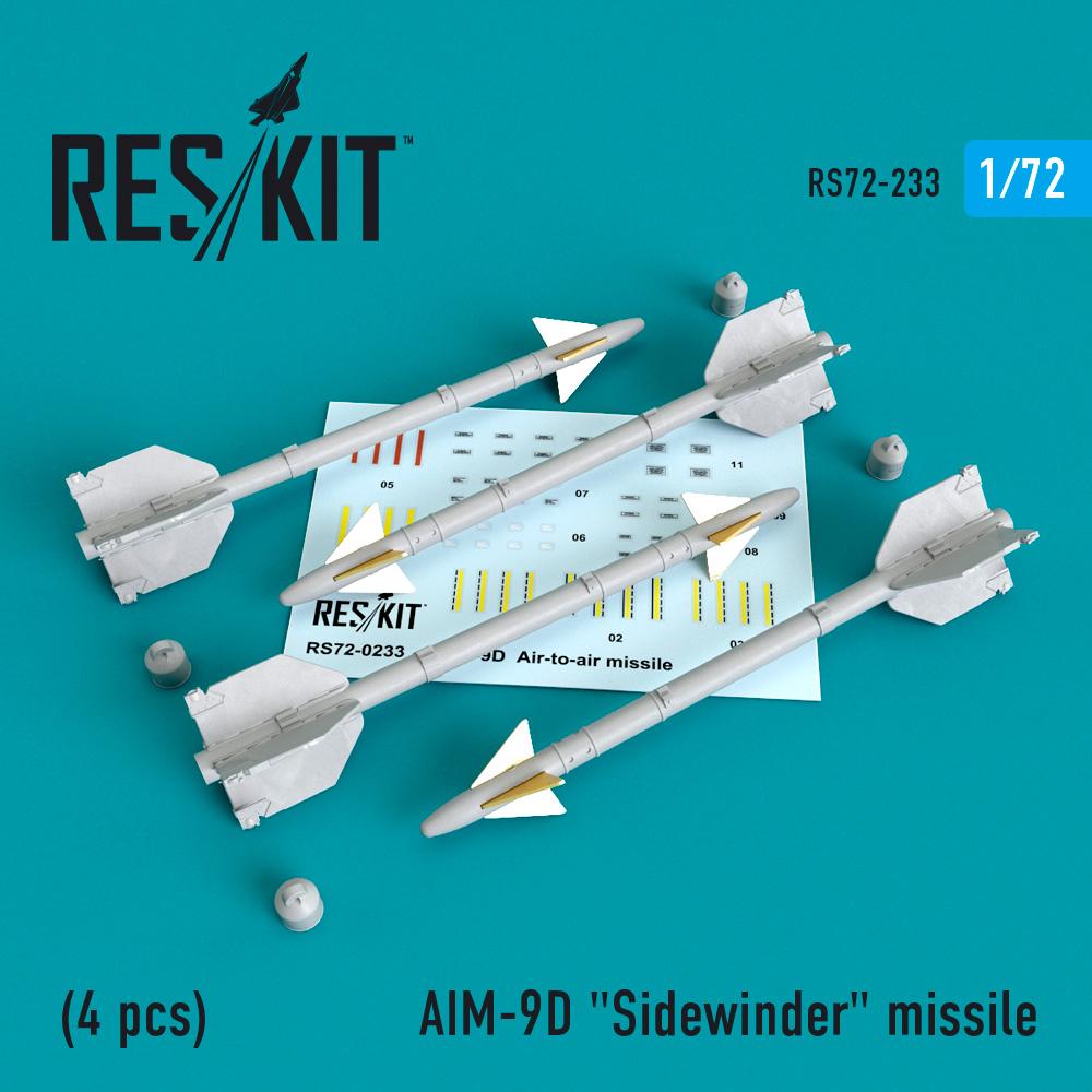 "AIM-9D ""Sidewinder"" missile (4 PCS) A-4, A-6, A-7, F-4, F-8, F-100, F-104, F-105,  Mirage III ResKit RS72-0233"