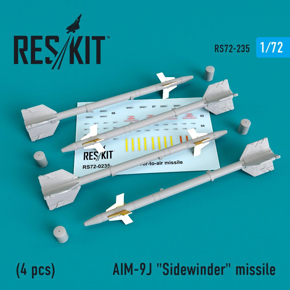 """AIM-9J """"Sidewinder""""  missile (4 PCS) F-4, F-5, F-16, F-15, F-14, Mirage F.1, Harrier, Mirage III, Hawk ResKit RS72-0235"""