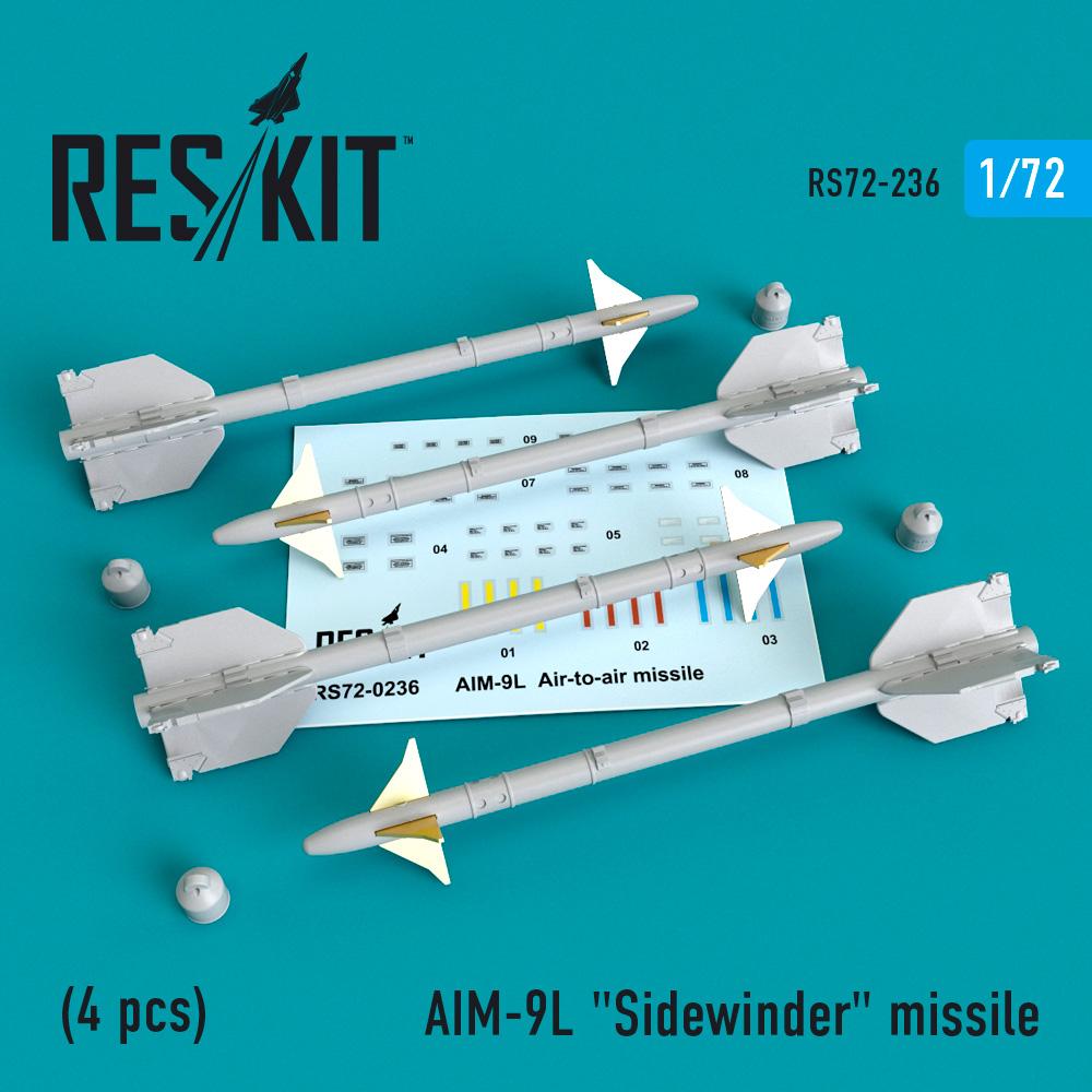 """AIM-9L """"Sidewinder""""  missile (4 PCS) F4, F-5, F-15, F-16, F-18, F-22, F-111, Harrier, Tornado, Eurofighter, Hawk, Gripen  ResKit RS72-0236"""