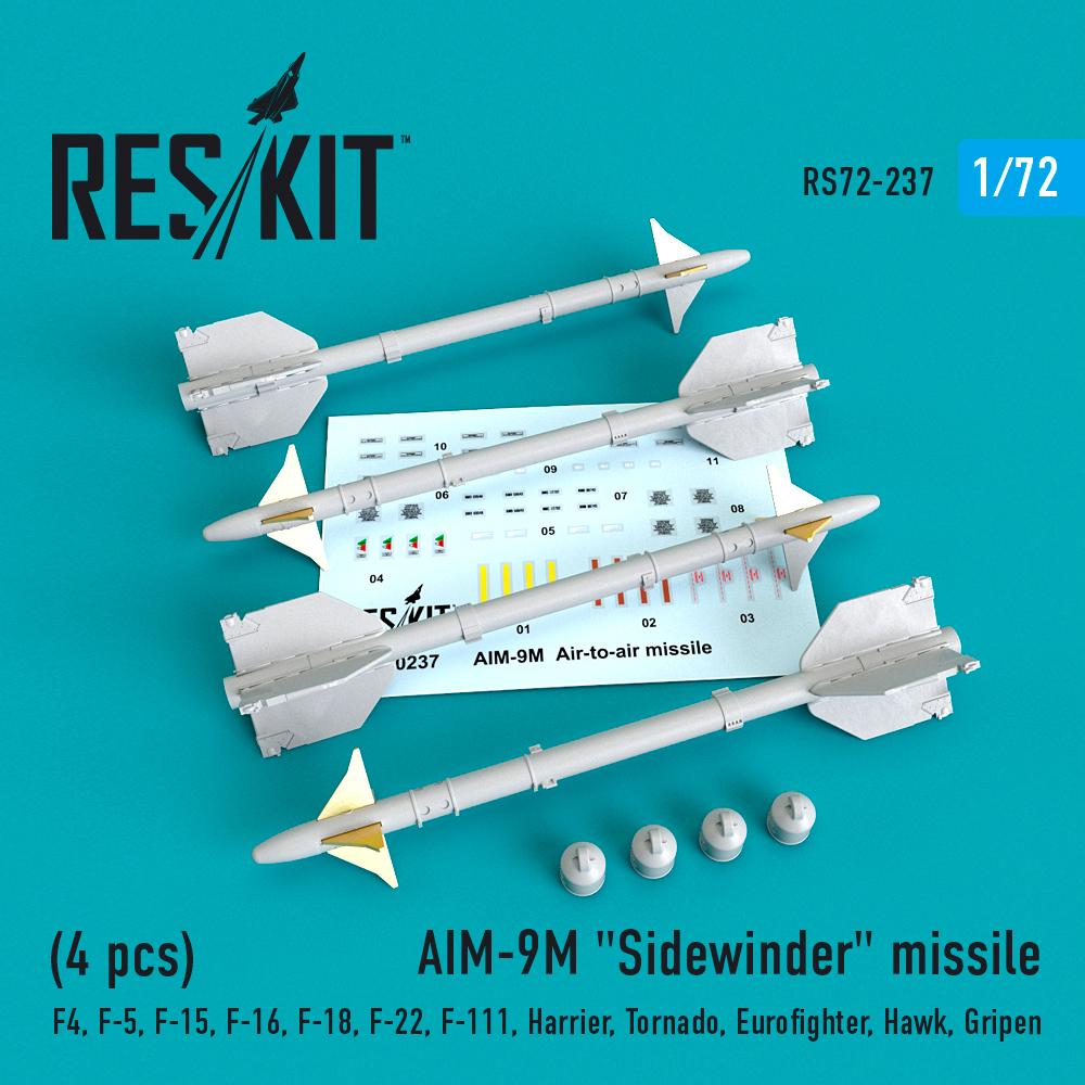 """AIM-9M """"Sidewinder""""  missile (4 PCS) F4, F-5, F-15, F-16, F-18, F-22, F-111, Harrier, Tornado, Eurofighter, Hawk, Gripen  ResKit RS72-0237"""