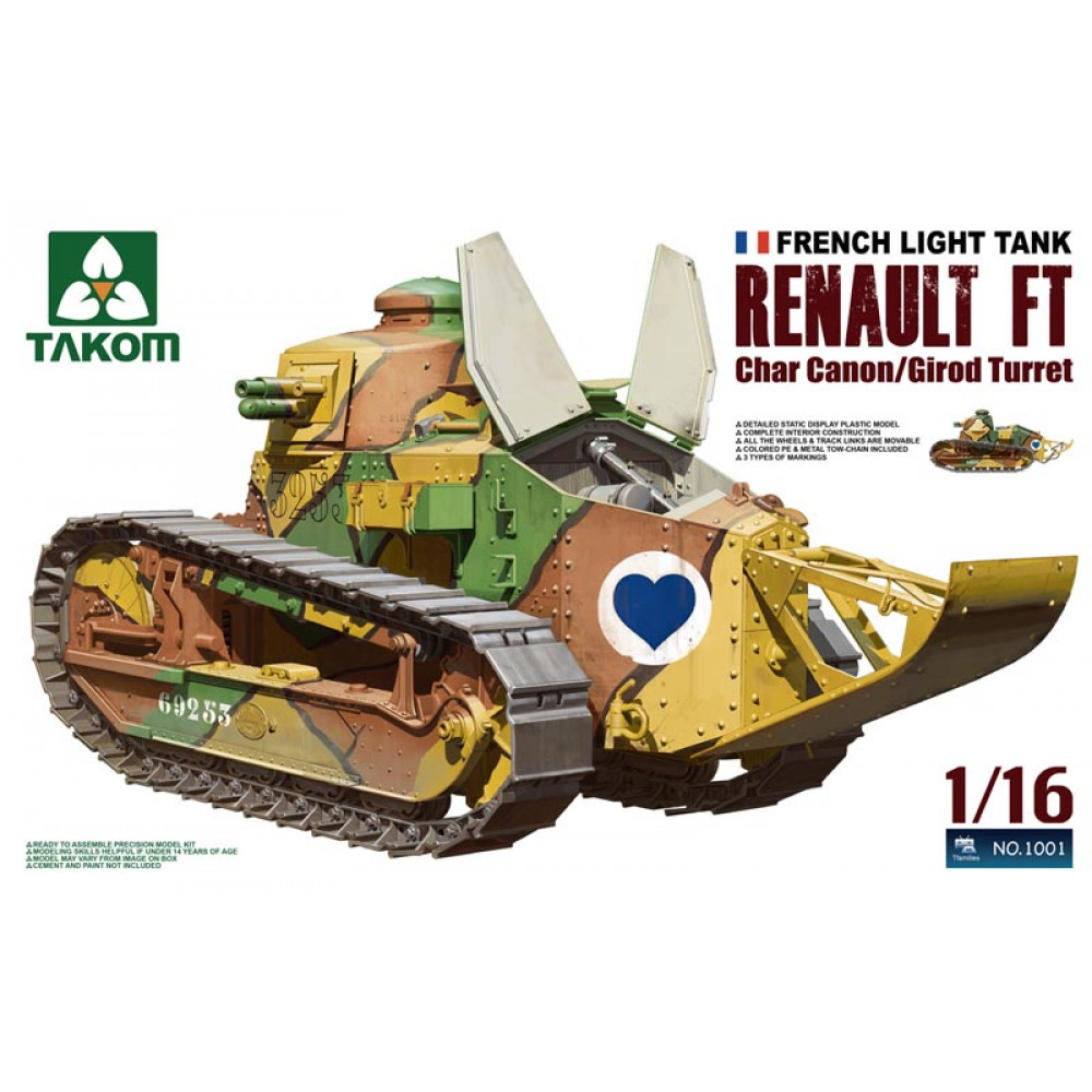 Renault FT-17 Char Canon with Girod Turret  1/16 Takom 1001