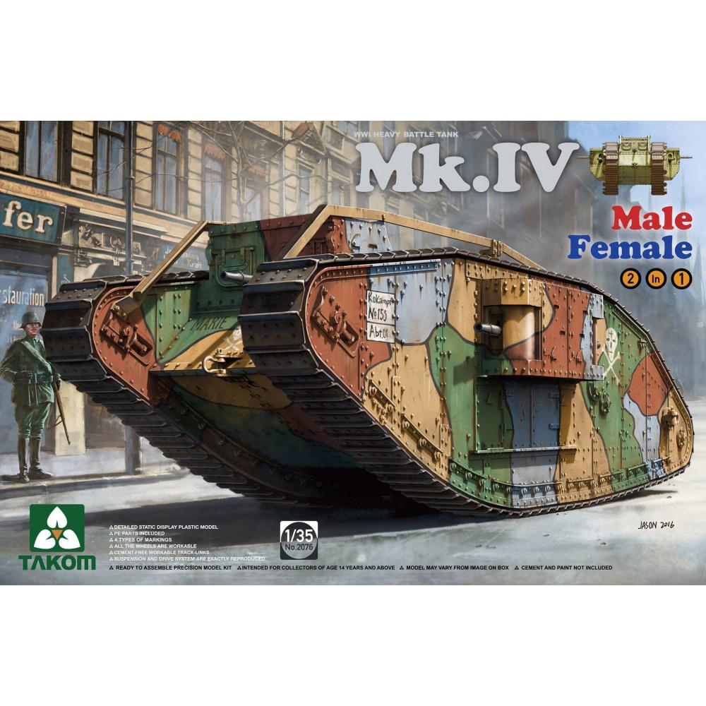 "British Tank Mk.IV WWI ""Male/Female 2 in 1""  1/35 Takom 2076"