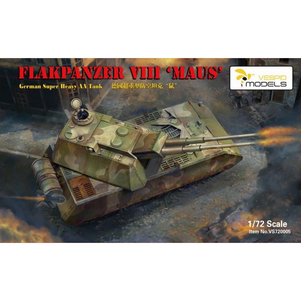 """Немецкий сверхтяжелый танк ПВО """"Маус"""" 1/72 Vespid Models 720005"""